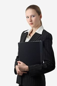 Free Young Beautiful Businesswoman With Folder Royalty Free Stock Photos - 8578228