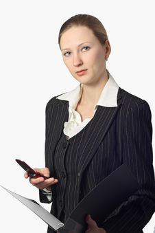 Free Young Beautiful Businesswoman With Folder And Cell Stock Image - 8578251
