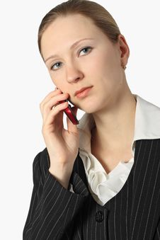 Young Beautiful Businesswoman With Cellular Phone Stock Photos