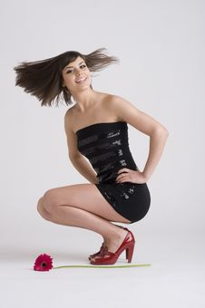 Black Dress, Red Shoes, & A Flower Royalty Free Stock Photography
