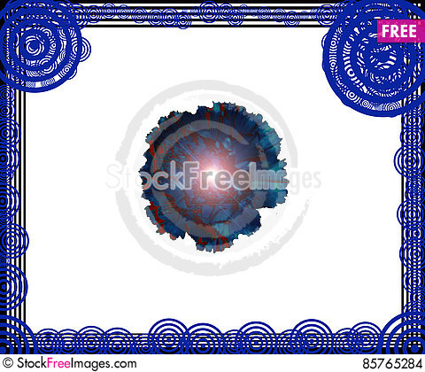 Free Beautiful Frame And Blue Flower Illustrations Stock Images - 85765284