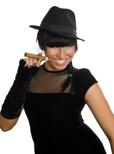 Free Sexy Girl With Cigar Stock Image - 8580431