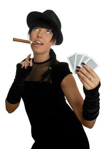 Free Sexy Girl With Cigar And Cards Stock Image - 8580441