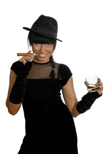 Free Sexy Girl With Cigar And Whisky Stock Images - 8580474