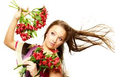 Free Beautiful Woman With Flowers Royalty Free Stock Photos - 8580978