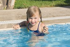 Girl In The Swimming-pool Royalty Free Stock Photos