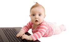 Free Baby With Laptop Royalty Free Stock Images - 8581949