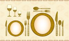 Free Spoon, Knife, Fork, Plate And Wineglass Stock Photo - 8582980
