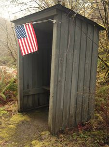 School Bus Shelter With American Flag Royalty Free Stock Photos