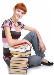 Free Beauty Student Girl With Book Stock Images - 8585284