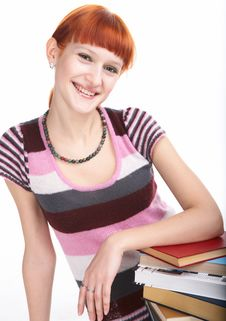 Free Beauty Student Girl With Book Royalty Free Stock Photography - 8585357