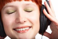 Free Beauty Girl In Head Phones Stock Photography - 8585362