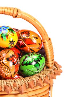 Free Easter Eggs In Wicker Basket Stock Photos - 8586143