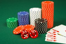 Free Chips ,dices And Cards Royalty Free Stock Image - 8586626