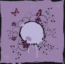 Free Grunge Violet Floral Frame With Butterflies Stock Photos - 8586943