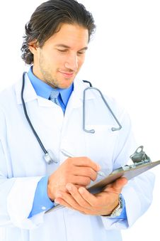 Free Isolated Male Doctor Writing Report Stock Images - 8587404