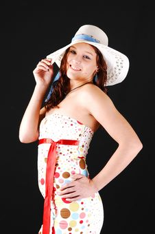 Pretty Girl With White Hat. Stock Photo