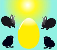 Two Black Baby Rabbits With Two Chicks Royalty Free Stock Photo
