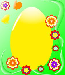 Free Easter Egg With Flowers Royalty Free Stock Photos - 8589978