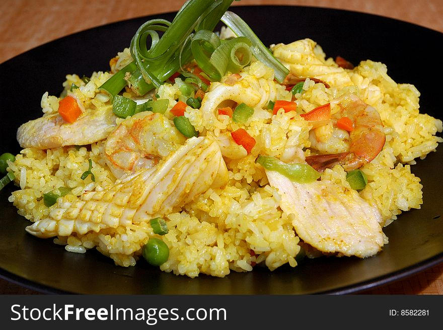 Seafood and chicken stir fry
