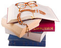 Free Open Bible With Rosary And Glasses Stock Images - 8590734