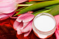 Free Cream, Towel With Flowers Royalty Free Stock Image - 8597126