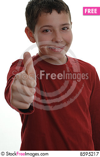 Free Young Boy With Thumb Up 1 Royalty Free Stock Photography - 8595217