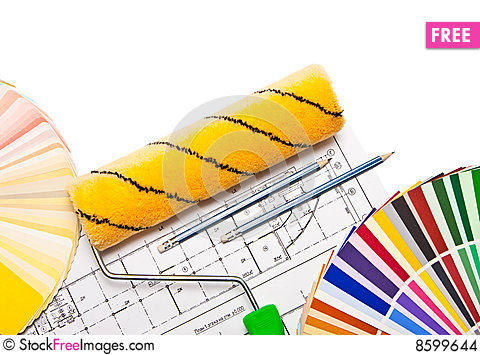 Paintig roller, pencils, drawings and color guide Stock Photo