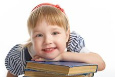 Little Girl With Book Royalty Free Stock Photo