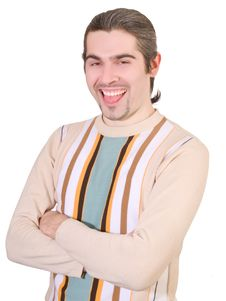 Free Young Handsome Man In Sweater Shows Tongue Stock Photos - 8590653