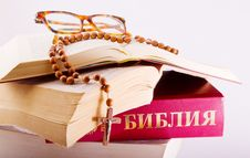 Free Open Bible With Rosary And Glasses Stock Image - 8590721