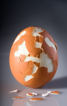 Free Cracked Egg With Pieces Of Shell Stock Photos - 8591073