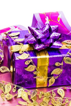 Violet Gift Box Stock Photo