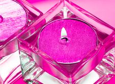 Pink Candles In Glass Stock Photo