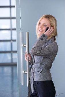 Free Business Woman On A Cell Phone Royalty Free Stock Images - 8593089