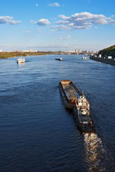 Barge On River Stock Images