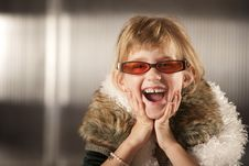 Free Cute Young Girl In Red Glasses Royalty Free Stock Image - 8595896