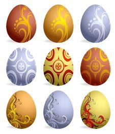 Free Set Of Nine Easter Eggs Stock Photos - 8596573