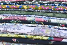 Free Stack Of Colorful Folded Cotton Fabrics Royalty Free Stock Photography - 8596657