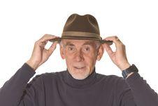 Free Senior Man Adjusting His Hat Stock Photography - 8596782