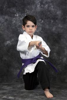 Free Martial Arts Boy Holding Bow Stock Photos - 8599193