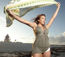 Woman Holding A Sarong Stock Photography