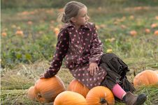 Free Pretty Child Sitting On A Pumpkin Stock Photos - 8599513