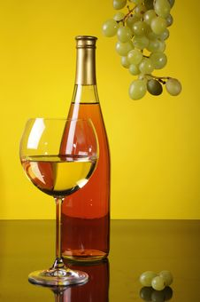 Grapes, Bottle And Glass Of Wine Royalty Free Stock Image