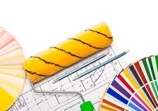 Free Paintig Roller, Pencils, Drawings  And Color Guide Stock Images - 8599644