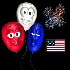 Free Smiley Balloons - Patriotic Royalty Free Stock Photo - 860385