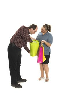 Free Couple With Shopping Bags Stock Photos - 861123