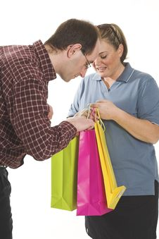 Free Couple With Shopping Bags Stock Images - 861124