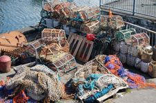 Free Girvan Scotland Fishing Nets At The Harbourside Stock Images - 862104