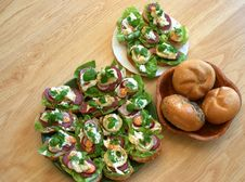 Free Two Plates Of Sandwiches Put On Table In Kitchen Stock Photography - 863322